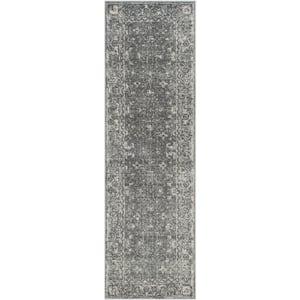 Evoke Gray/Ivory 2 ft. x 19 ft. Border Runner Rug