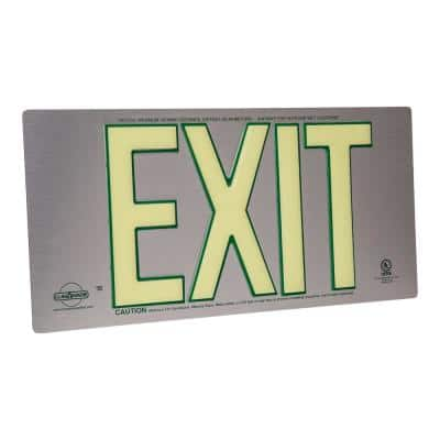 Brushed Metal Aluminum 100' Visibility 5 fc Rated Energy-Free Photoluminescent UL924 Emergency Exit Sign LED Compliant