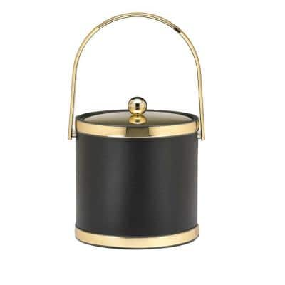 Sophisticates 3 Qt. Black w/Polished Brass Ice Bucket with Track Handle, Metal Cover