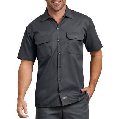 Men's Charcoal Flex Relaxed Fit Short Sleeve Twill Work Shirt