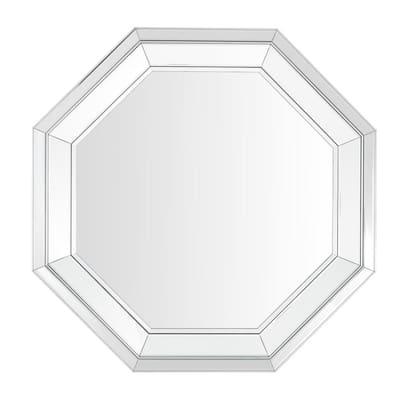 Medium Octagonal Silver Beveled Glass Classic Accent Mirror (31 in. H x 31 in. W)