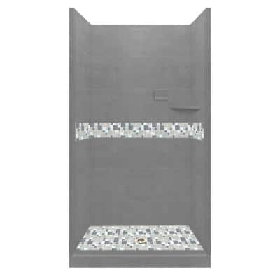Newport 36 in. L x 32 in. W x 80 in. H Alcove Shower Kit with Shower Wall and Shower Pan in Wet Cement