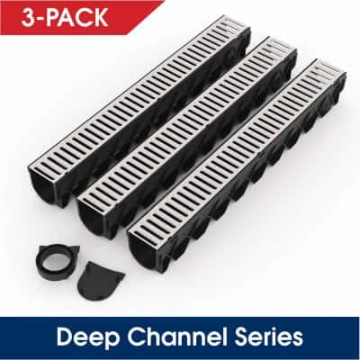 Storm Drain Series 5 in. W x 5.25 in. D x 39.4 in. L Channel Drain Kit with Galvanized Grate (3-Pack)