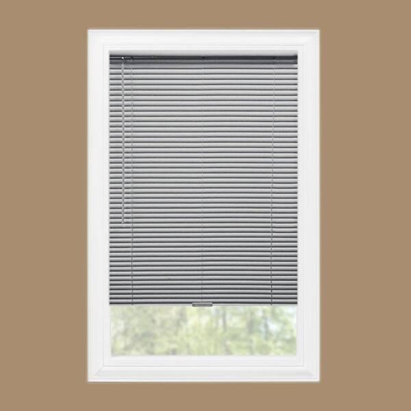 Hampton Bay Gray Cordless Room Darkening 1 In Vinyl Mini Blind For Window Or Door 46 In W X 48 In L 10793478585663 The Home Depot
