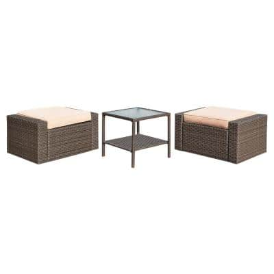 3-Piece Brown Wicker Outdoor Ottoman with Beige Cushions and Square Glass Top Coffee Table