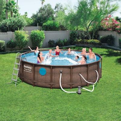Bestway Power Steel Swim Vista 16 ft. x 4 ft. Above Ground Swimming Pool Set with Pump
