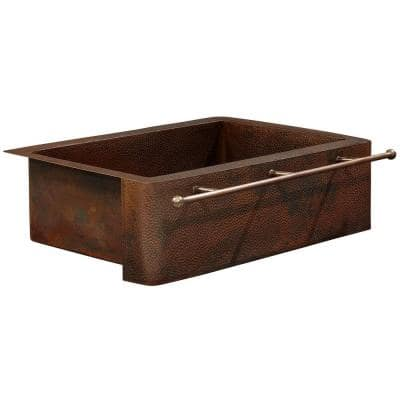 Rodin Farmhouse Apron Front Handmade Pure Solid Copper 33 in. Single Bowl Copper Kitchen Sink with Towel Bar