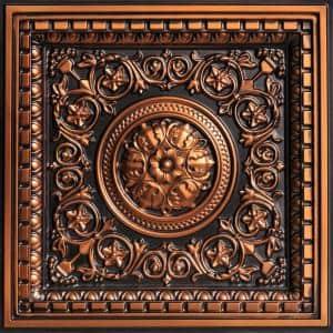 Rhine Valley Antique Copper 2 ft. x 2 ft. PVC Glue-up or Lay-in Faux Tin Ceiling Tile (100 sq. ft./case)
