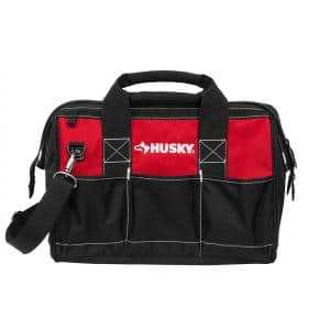 15 in. Wide Mouth Water Resistant Metal Hardware Dual-Zipper Tool Storage Bag with Adjustable Strap and 8 pockets