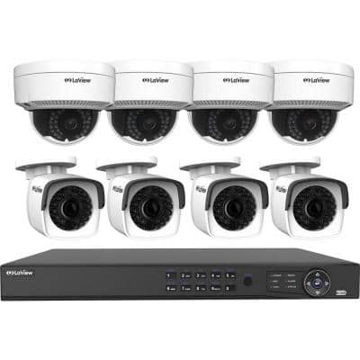 8-Channel 4MP Full HD 4TB Surveillance Systems Dome Cameras 100 ft. Night Vision Free Remote Viewing