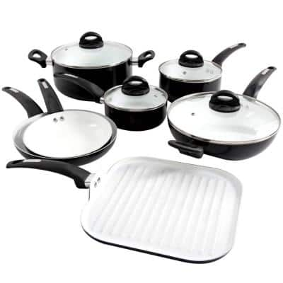 Herstal 11-Piece Aluminum Ceramic Nonstick Cookware Set in Black