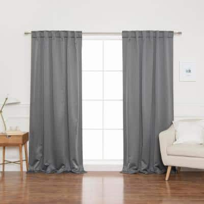 Grey Back Tab Blackout Curtain - 52 in. W x 84 in. L  (Set of 2)