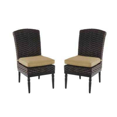 Camden Dark Brown Wicker Outdoor Patio Armless Dining Chair with Sunbrella Antique Beige Cushions (2-Pack)