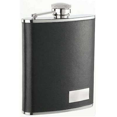Eclipse S 18 oz. Black Genuine Leather Flask
