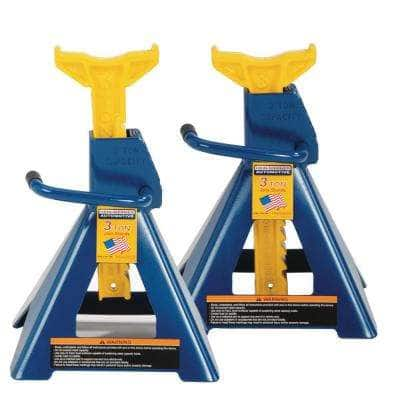 3-Ton Heavy-Duty Jack Stands Pair with Formed Steel Frame Base and Ratcheting Bar