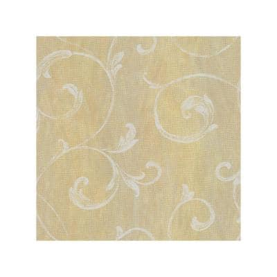 Gibby Peach Leafy Scroll Paper Strippable Roll Wallpaper (Covers 56.4 sq. ft.)