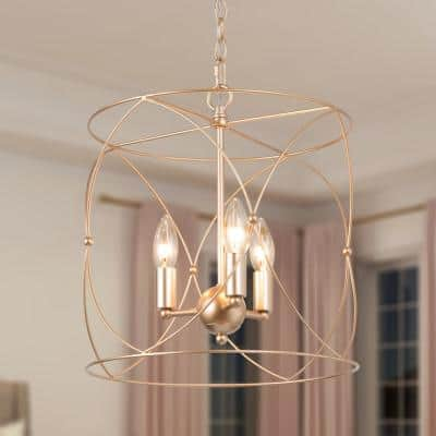 Modern Drum Chandelier Pendant Light, 3-Light Brass Gold Farmhouse Cage Chandelier for Kitchen Island