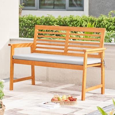 Waimea 3-Person Wood Outdoor Bench with Light Gray Cushion