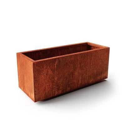 Long Box Large Rust Corten Steel Metal Rectangular Planter