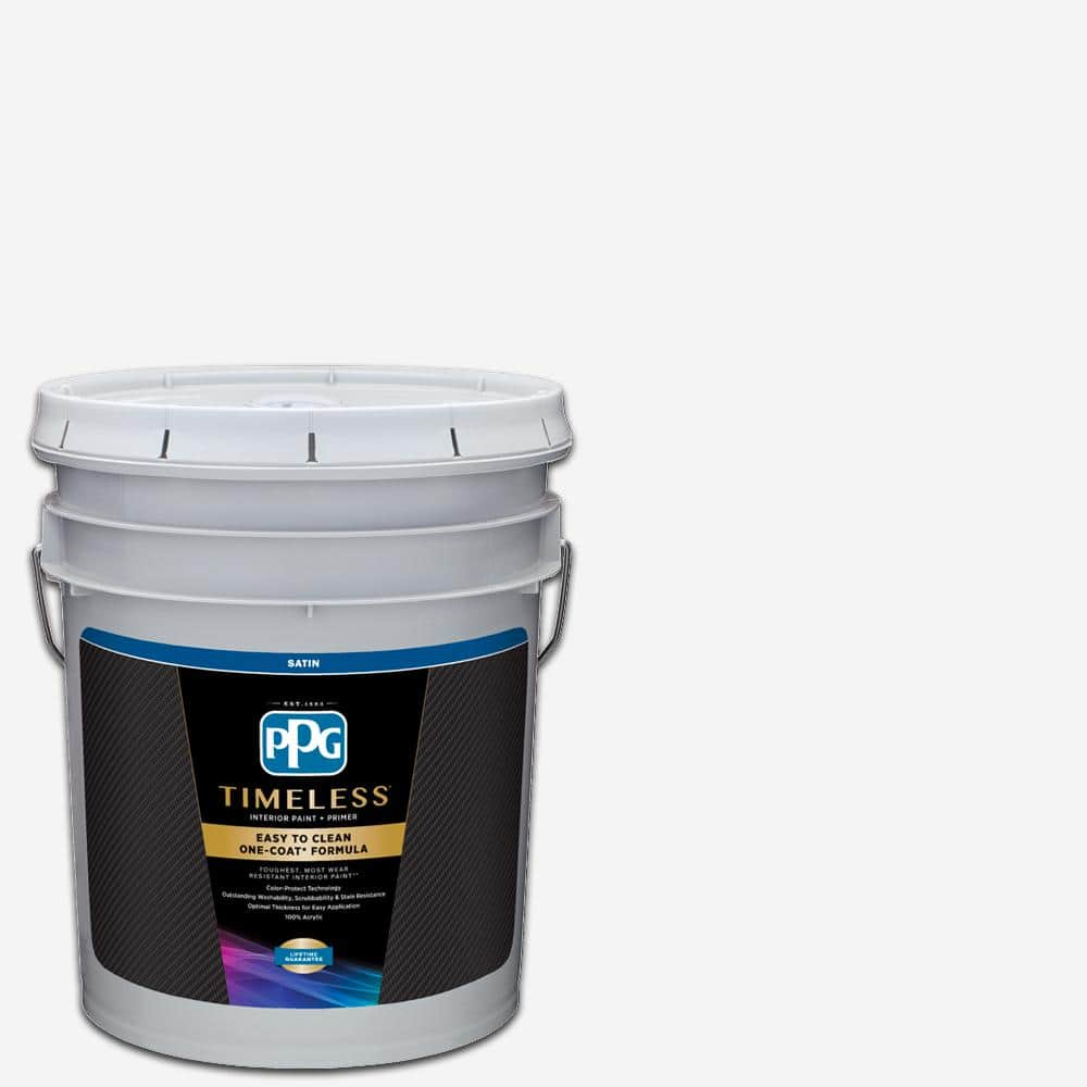Ppg Timeless 5 Gal Pure White Base 1 Satin Interior Paint With Primer Ppg83 410 05 The Home Depot