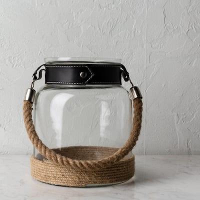 Armod Beige 9 in. Glass and Jute Decorative Lantern