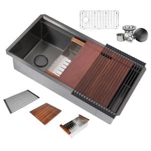 Workstation Undermount Stainless Steel 36 in. Single Bowl Kitchen Sink 16-Gauge Integrated Ledge in Black
