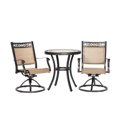 Brown 3-Piece Bistro Set, Handmade Contemporary Round Table Swivel Rocker Chairs Garden Backyard Outdoor Patio Furniture