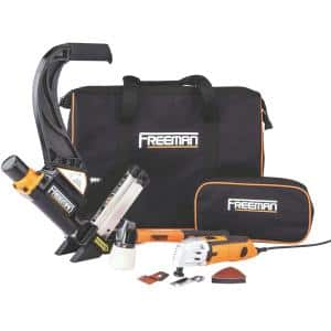 Lightweight Pneumatic 2-in-1 Flooring Nailer and Stapler and Oscillating Multi-Function Power Tool Combo Kit with Bags
