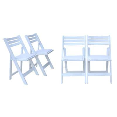Classic Oak Wood Folding Chair with Vinyl Padded on Seat in White Color ( Set of 4)