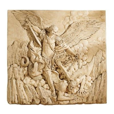 21 in. x 22 in. St. Michael, the Archangel Sculptural Wall Frieze