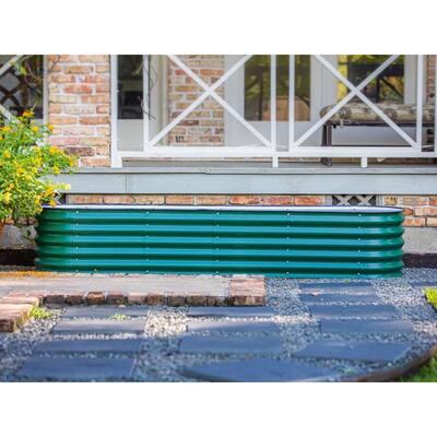17 in. 9-In-1 Modular British Green Metal Raised Garden Bed Kit