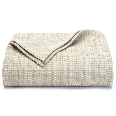 Bamboo Beige Textured Woven Cotton Full/Queen Blanket
