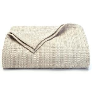 Bamboo Beige Textured Woven Cotton King Blanket