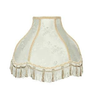 13 in. x 9.5 in. Ivory and Fringe Scallop Bell Lamp Shade