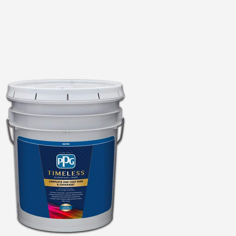 Ppg Timeless 5 Gal Pure White Base 1 Satin Exterior Paint With Primer Ppg73 410 05 The Home Depot