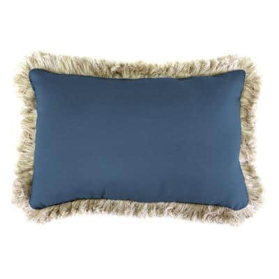 Sunbrella 9 in. x 22 in. Canvas Sapphire Blue Lumbar Outdoor Pillow with Canvas Fringe