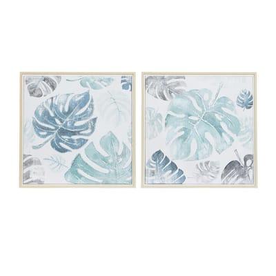 Blue Natural Canvas Wall Art (Set of 2)