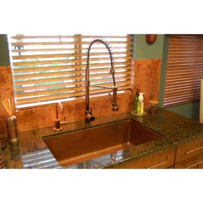 Under Counter/Surface Drop-in undermount Hammered Copper 33 in. 0-Hole Single Bowl Kitchen Sink in Antique Copper
