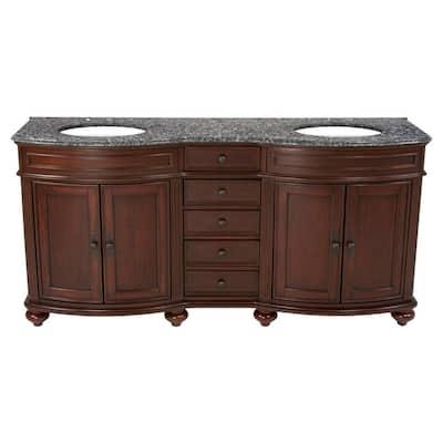 72 in. W x 23 in. D Solid Hardwood Double Vanity in Cherry with Solid Granite Top in Leopard