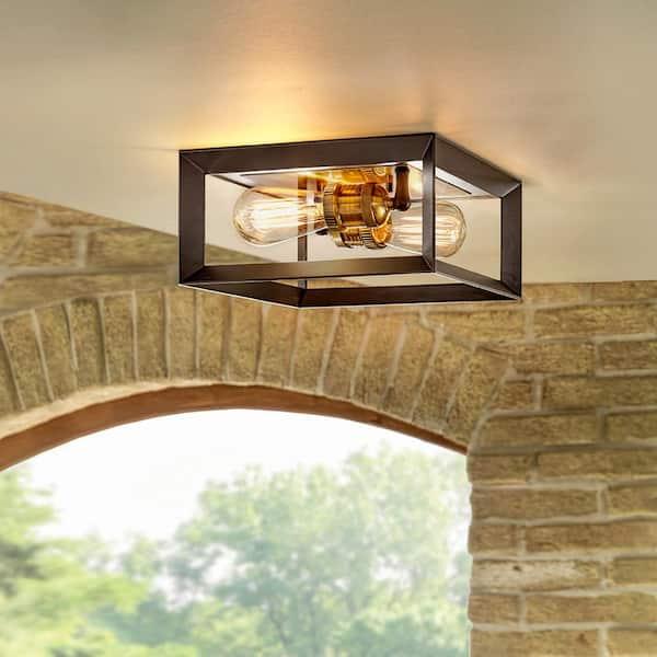 Home Decorators Collection Walden Forge 2 Light Black Frame Flush Mount Ceiling Light With Antique Brass Sockets Hd 1550 I The Home Depot