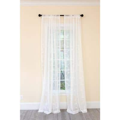 White Floral Embroidered Rod Pocket Sheer Curtain - 54 in. W x 108 in. L (1-Piece)