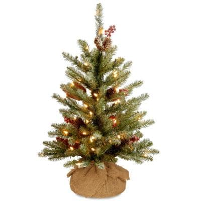 3 ft. Battery Operated Dunhill Fir Artificial Christmas Tree with Warm White LED Lights