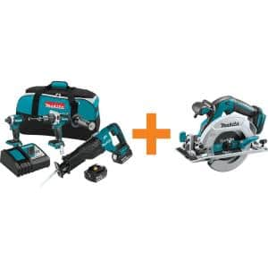 18-Volt LXT 5.0 Ah Brushless Combo Kit with Bonus 18-Volt LXT Brushless 6-1/2 in. Circular Saw with Electric Brake