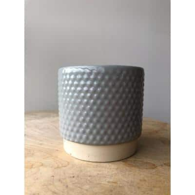 3.1 in. Grey Ceramic Enso Bubbles Planter