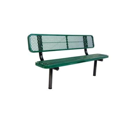 6 ft. Diamond Green In-Ground Commercial Park Bench with Back Surface Mount
