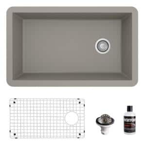 QU-670 Quartz/Granite 32 in. Single Bowl Undermount Kitchen Sink in Concrete with Bottom Grid and Strainer