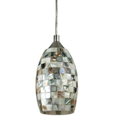 Venice 9-Watt Integrated LED Brushed Nickel Dimmable Hanging Pendant Fixture with Decorative Designers Glass Shade
