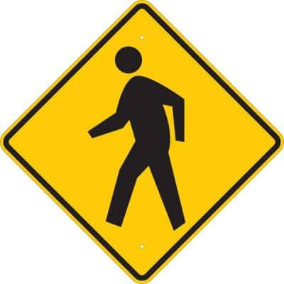 24 in. x 24 in. B-959 Reflective Sheeting on Aluminum Crosswalk Picto Traffic Sign