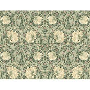 40.5 sq. ft. Gardenia & Sage Pimpernel Floral Vinyl Peel and Stick Wallpaper Roll