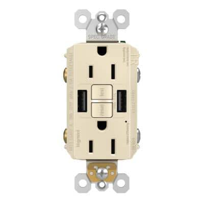 radiant 15 Amp 125-Volt Tamper Resistant Self-Test GFCI Duplex Outlet with Type A/A USB with Light Almond
